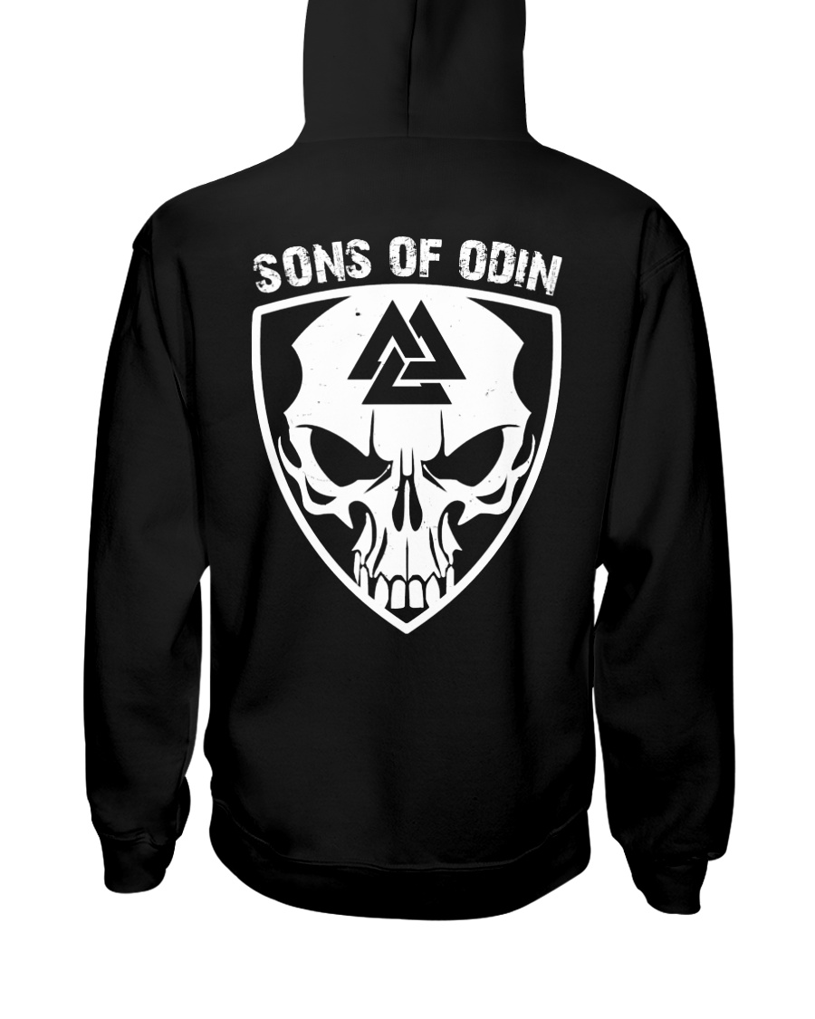 Viking Shirt - Sons Of Odin - Skull Valknut Hooded Sweatshirt
