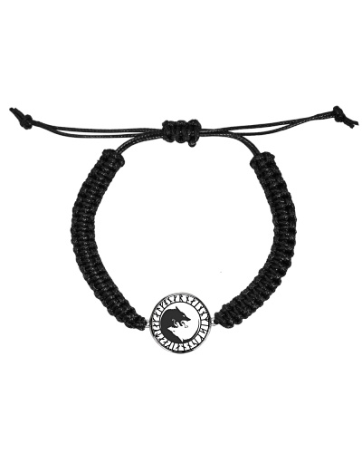VIKING YIN YANG WOLF - Cord Circle Bracelet