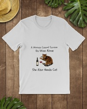 A Woman Cannot Survive On Wine Alone  Classic T-Shirt lifestyle-mens-crewneck-front-18