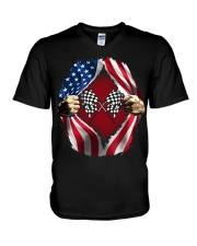 Dirt track racing US V-Neck T-Shirt thumbnail