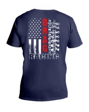 Drag Racing Flag Fourth of July V-Neck T-Shirt thumbnail