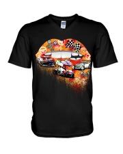Dirt track racing lips V-Neck T-Shirt thumbnail