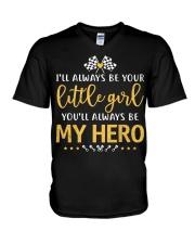 Dirt track racing - little girl V-Neck T-Shirt thumbnail