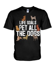 Life Goal Pet All The Dogs Funny Puppy Lover Gift  V-Neck T-Shirt thumbnail