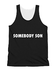 Somebody Son Black All-over Unisex Tank front