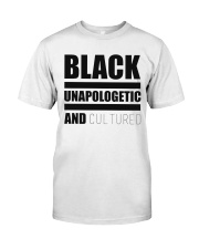 Black Unapologetic and Cultured Premium Fit Mens Tee front