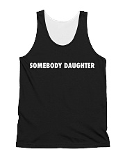 Somebody Daughter Black All-over Unisex Tank front
