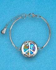 Love Each other World Peace Metallic Circle Bracelet aos-bracelet-metal-front-lifestyle-3