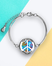 Love Each other World Peace Metallic Circle Bracelet aos-bracelet-metal-front-lifestyle-5