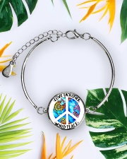 Love Each other World Peace Metallic Circle Bracelet aos-bracelet-metal-front-lifestyle-7