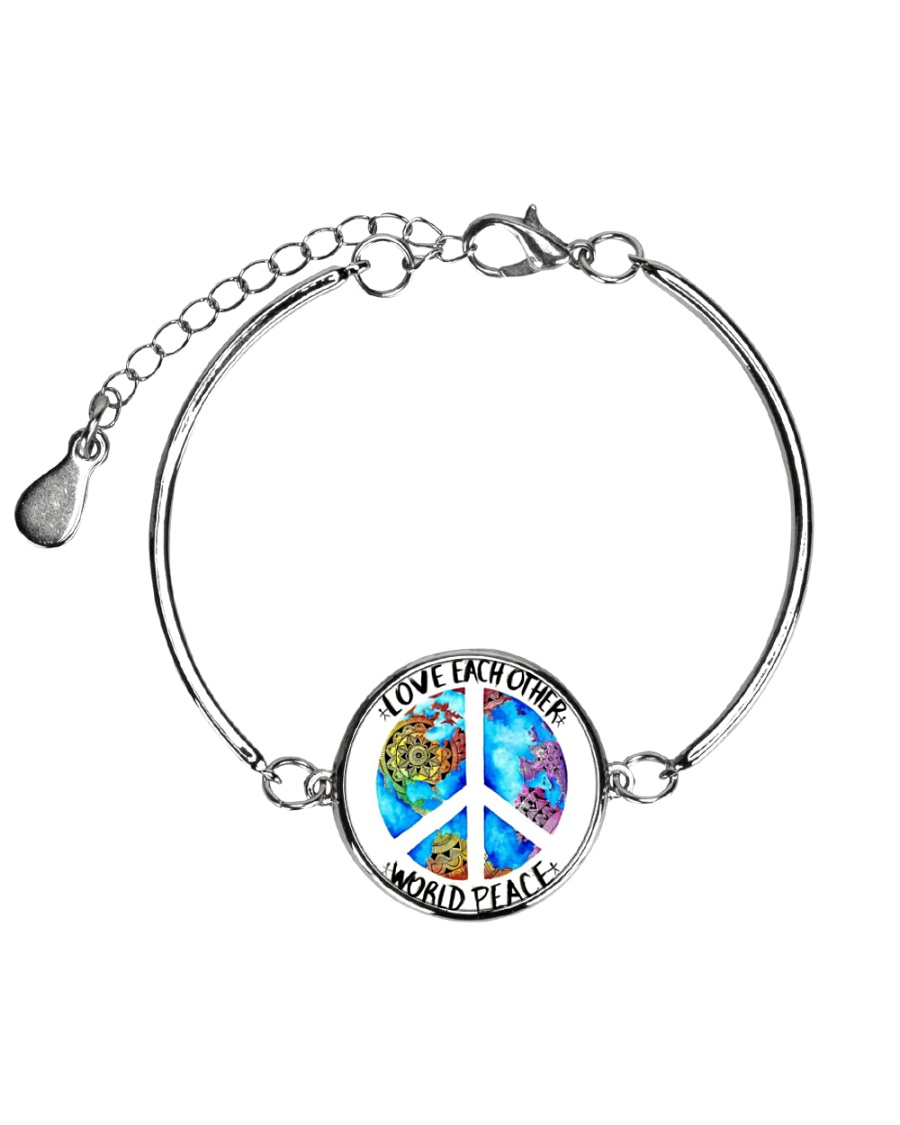 Love Each other World Peace Metallic Circle Bracelet