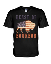 Beast of Bourbon American Flag Vintage Design V-Neck T-Shirt thumbnail