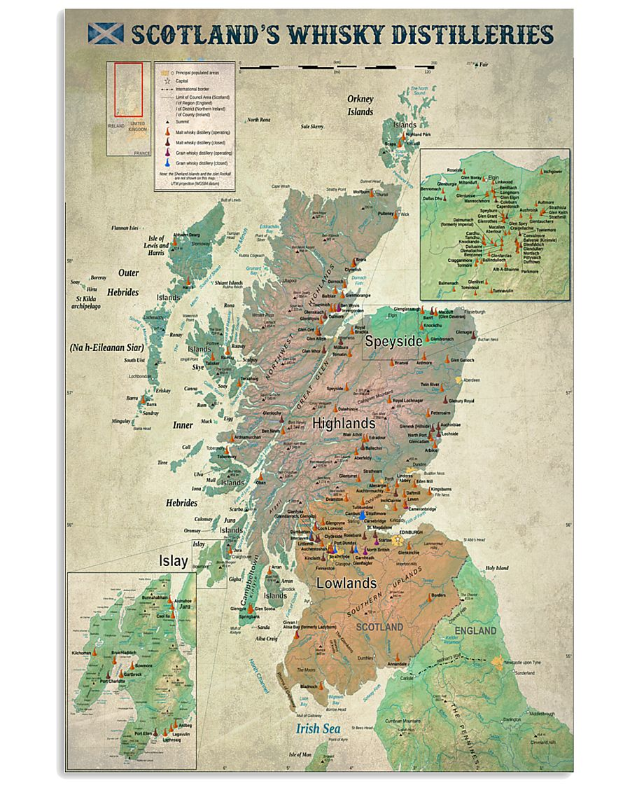 Scotland's Whisky Distilleries Map 11x17 Poster