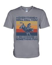 Everything Will Kill You Bull Riding V-Neck T-Shirt tile