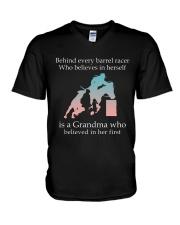 Gift For Grandma - Behind Every Barrel Racer Grandma V-Neck T-Shirt tile