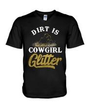 Dirt Is Cowgirl Glitte r V-Neck T-Shirt tile