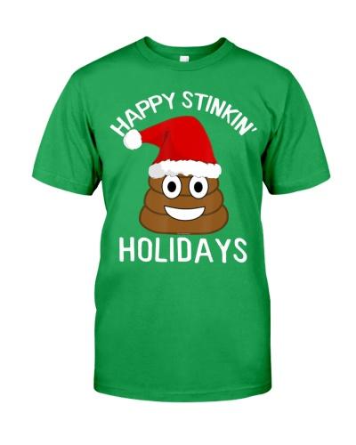 Christmas Poop Emoji T-Shirt Happy Stinkin