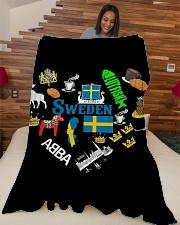 """Love Sweden - Sweden Fleece Blanket Large Fleece Blanket - 60"""" x 80"""" aos-coral-fleece-blanket-60x80-lifestyle-front-04"""