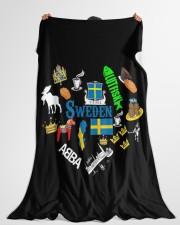 """Love Sweden - Sweden Fleece Blanket Large Fleece Blanket - 60"""" x 80"""" aos-coral-fleece-blanket-60x80-lifestyle-front-10"""