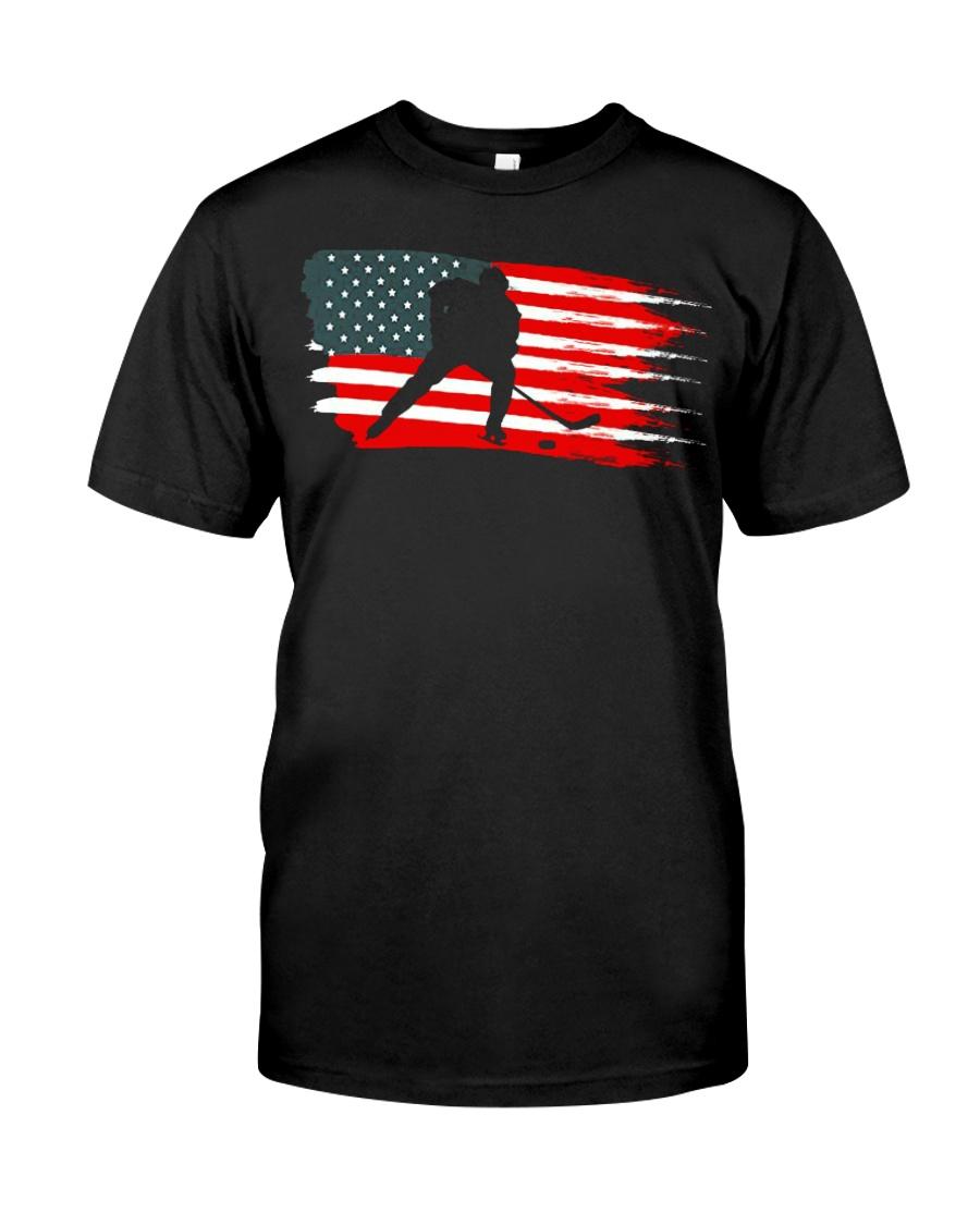 American Flag Patriotic Ice Hockey Classic T-Shirt