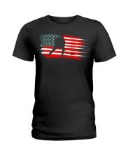 American Flag Patriotic Ice Hockey Ladies T-Shirt thumbnail