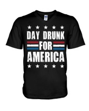 Independence Day Day Drunk For America Shirt V-Neck T-Shirt thumbnail