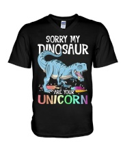 Sorry My Dinosaur Ate Your Unicorn T-Rex Shirt V-Neck T-Shirt thumbnail