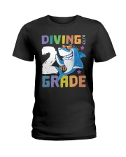 Roaring Into 2st Grade Shark Shirt Back To School  Ladies T-Shirt thumbnail