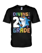 Roaring Into 2st Grade Shark Shirt Back To School  V-Neck T-Shirt thumbnail