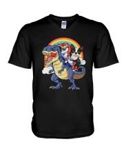 Unicorn And Boston Terrier Riding A Dinosaur T-rex V-Neck T-Shirt front