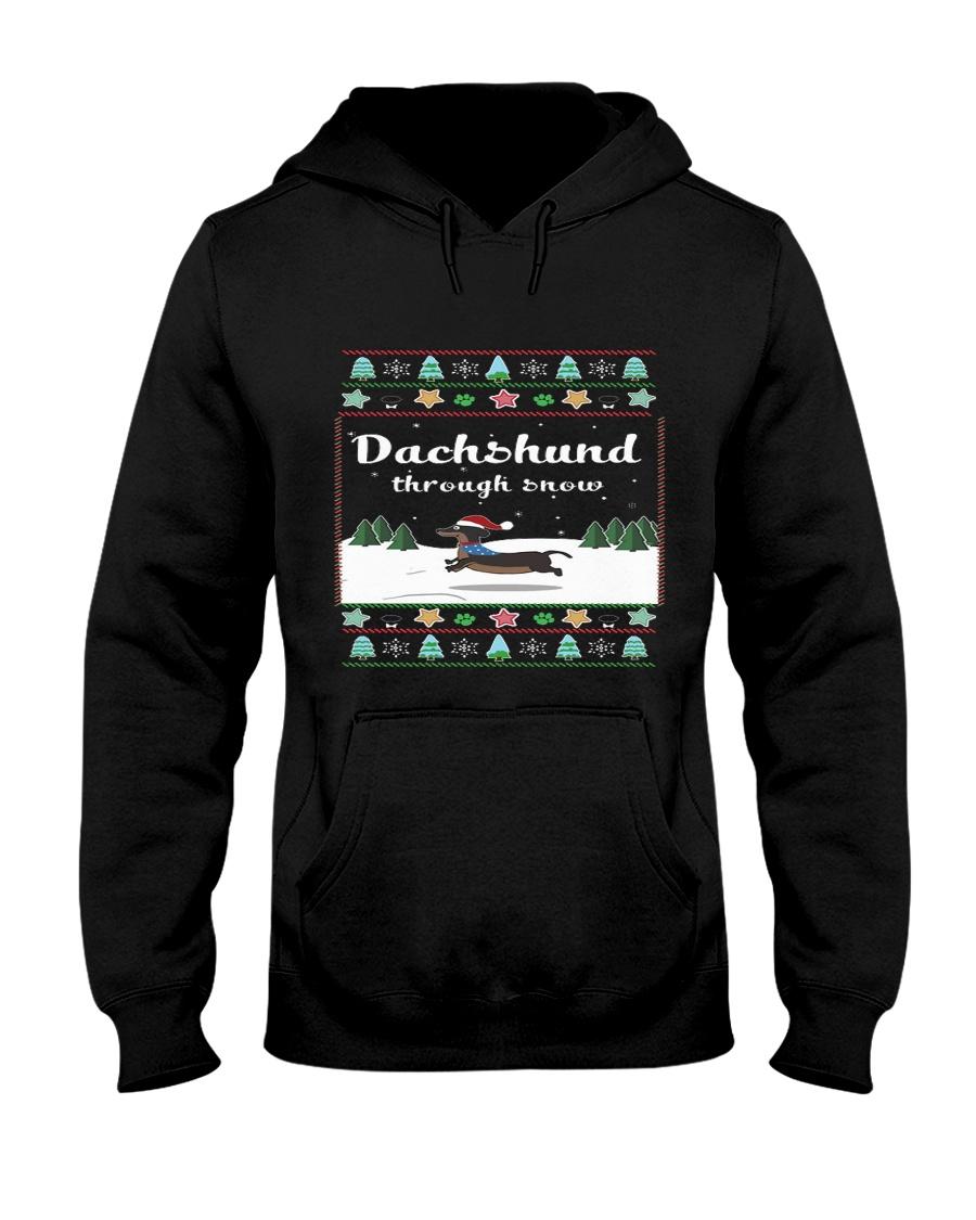 Selling fast -Dachshund Through Snow Hooded Sweatshirt