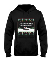 Selling fast -Dachshund Through Snow Hooded Sweatshirt front