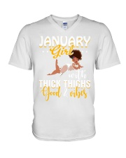 January girl thick thighs good and vibes V-Neck T-Shirt thumbnail