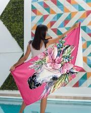 Unicorn Flower Beach Towel Premium Beach Towel aos-beach-towel-lifestyle-front-05