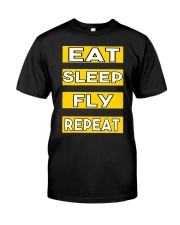 Pilot eat sleep fly repeat Classic T-Shirt thumbnail