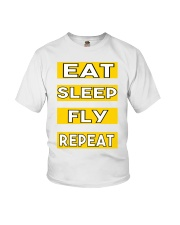 Pilot eat sleep fly repeat Youth T-Shirt thumbnail
