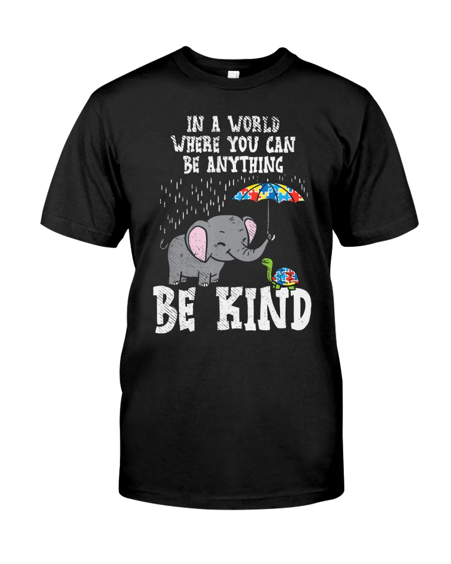 In A World Be Kind Cute Elephant Turtle Umbr Classic T-Shirt