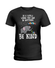 In A World Be Kind Cute Elephant Turtle Umbr Ladies T-Shirt thumbnail