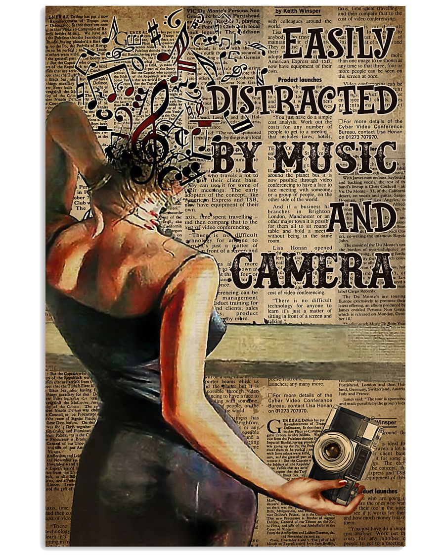 Camera Lady Easily Distracted By Music 16x24 Poster