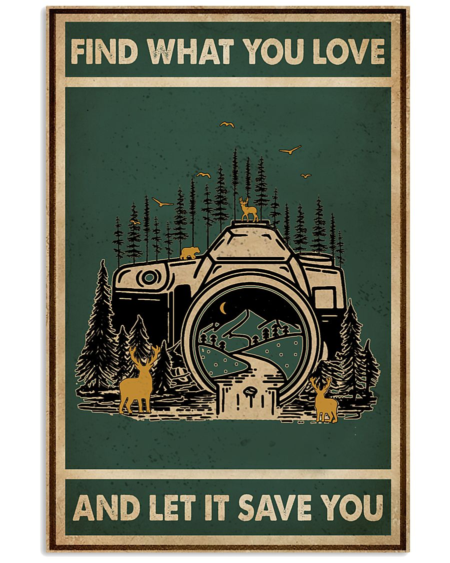 Retro Green Find What You Love Camera 11x17 Poster