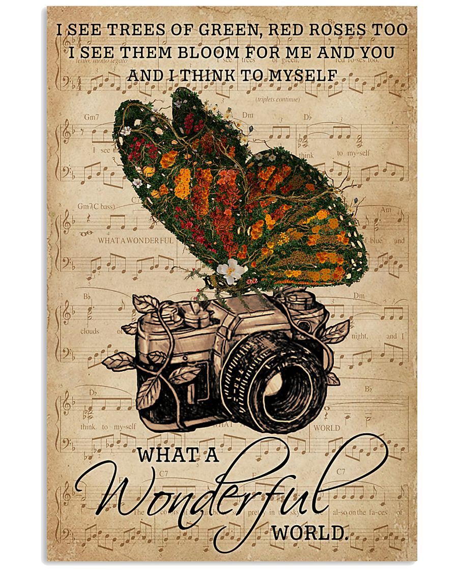 Music Sheet Wonderful World Camera Butterfly 11x17 Poster