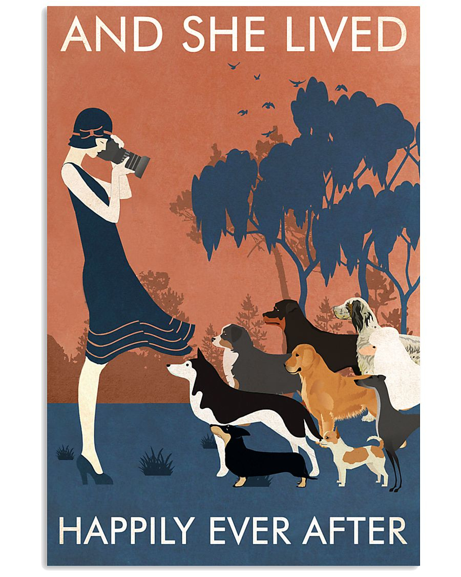 Vintage Girl Dogs Lived Happily Photography 11x17 Poster