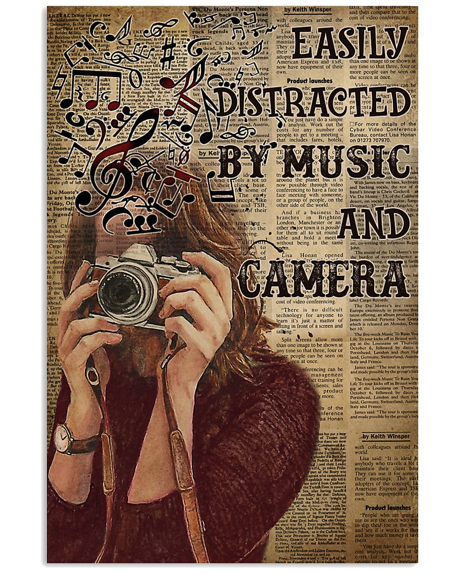 Easily Distracted By Music And Camera 16x24 Poster