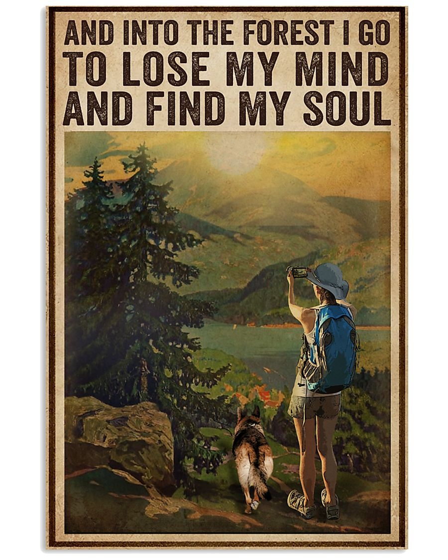 Vintage And Into The Forest Photography Dogs Girl  16x24 Poster