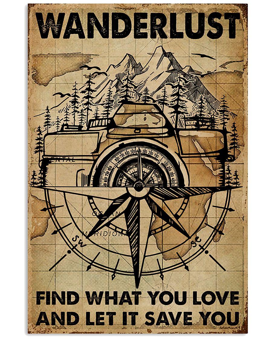 Vintage Map Camera Wanderlust 11x17 Poster