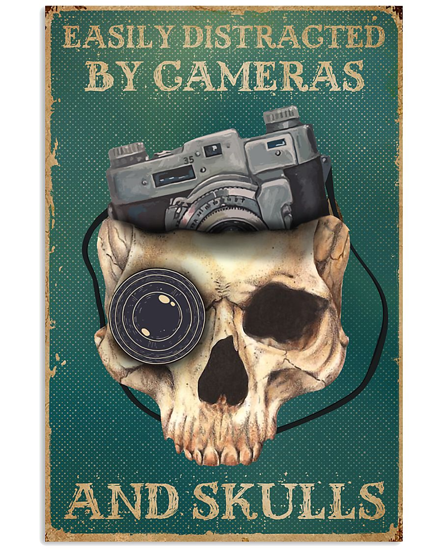 Retro Teal Easily Distracted By Cameras And Skulls 11x17 Poster