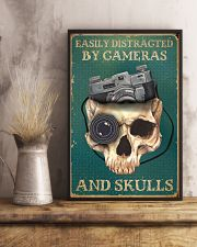 Retro Teal Easily Distracted By Cameras And Skulls 11x17 Poster lifestyle-poster-3