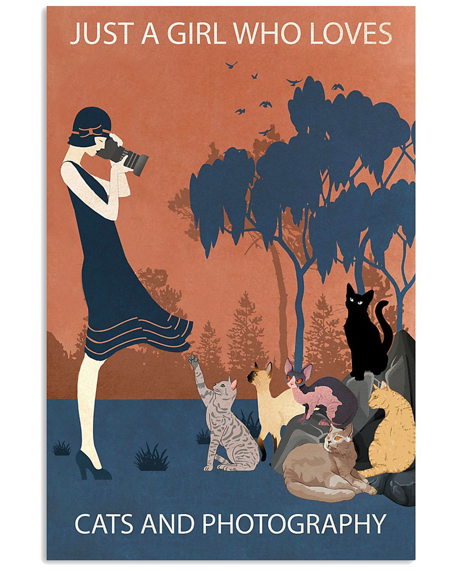 Vintage Girl Loves Cats And Photography 11x17 Poster