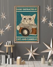 Retro Green Easily Distracted Cats And Cameras 11x17 Poster lifestyle-holiday-poster-1