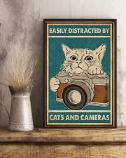 Retro Green Easily Distracted Cats And Cameras 11x17 Poster lifestyle-poster-3